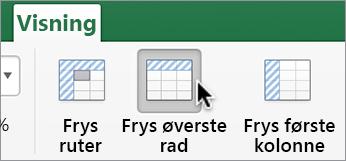 Visning-fanen, Frys øverste rad-knappen