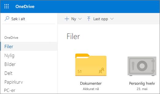 Skjermbilde av Personlig hvelv som vises i Filer-visningen i OneDrive på nettet