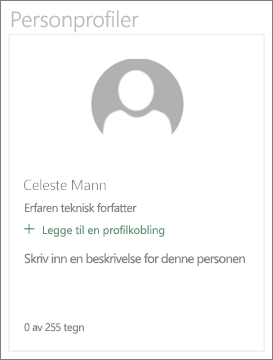 Beskrivende kortet for webdelen for personer