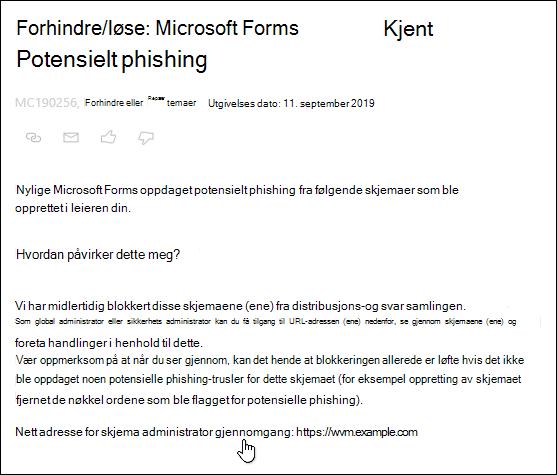 Peker til skjema administrator se gjennom URL-hyperkobling i Microsoft 365 admin Center-artikkel om Microsoft-skjemaer og phishing-gjenkjenning