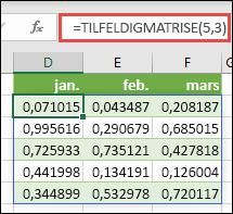 TILFELDIGMATRISE-funksjonen i Excel TILFELDIGMATRISE(5,3) returnerer tilfeldige verdier mellom 0 og 1 i en matrise som er 5 rader høy og 3 kolonner bred.