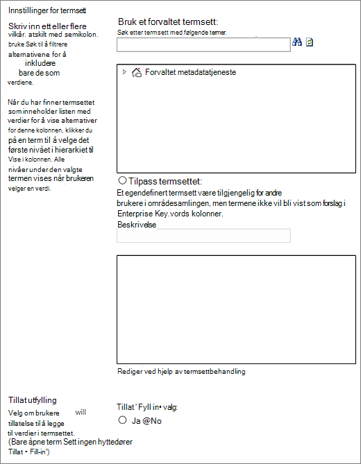 Valg for kolonne for forvaltede Metadata