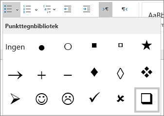 Velg avmerkings boksens symbol i punkt tegn biblioteket