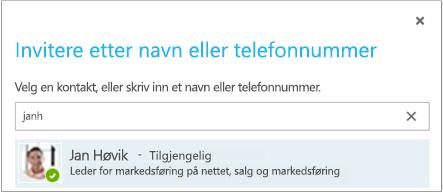 Inviter etter navn eller telefonnummer-dialogboksen