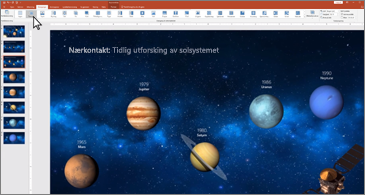 PowerPoint-lysbilde som viser planetene på linje