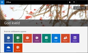 Skjermbilde viser hjemmesiden for installasjon av Office