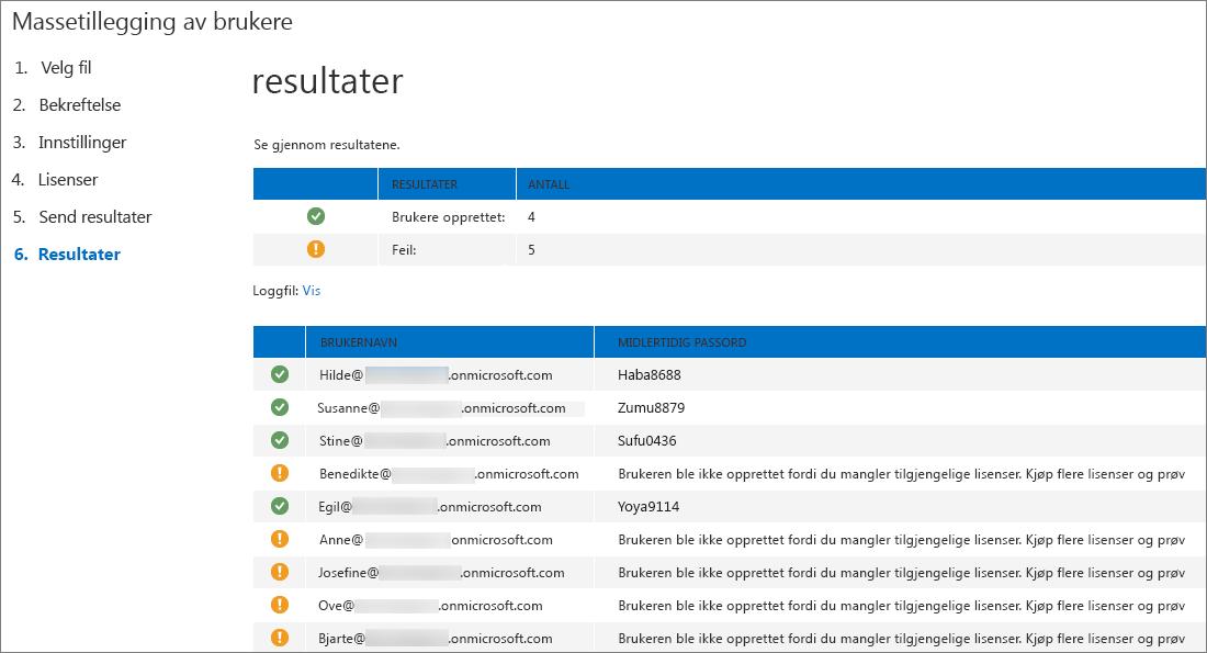 Trinn 6 i veiviseren for massetillegging av brukere – Send resultater