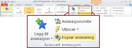 Kategorien Animasjoner på båndet i PowerPoint 2010.