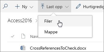 Skjermbilde av den åpne Last opp-menyen i et dokumentbibliotek.