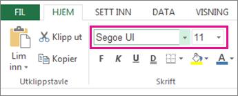 skriftalternativer på Excel-båndet