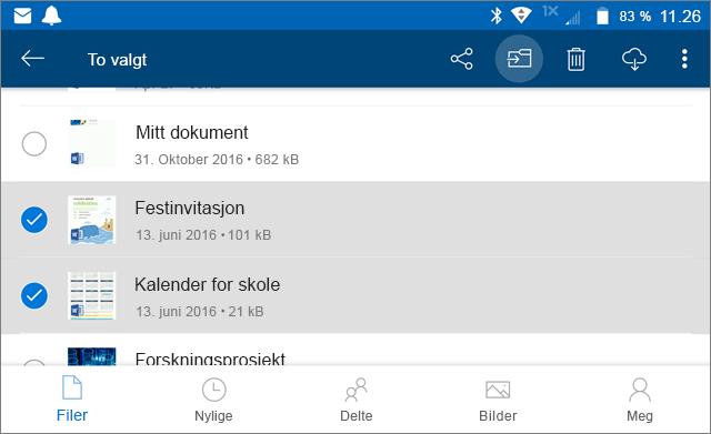 Flytte filer i OneDrive