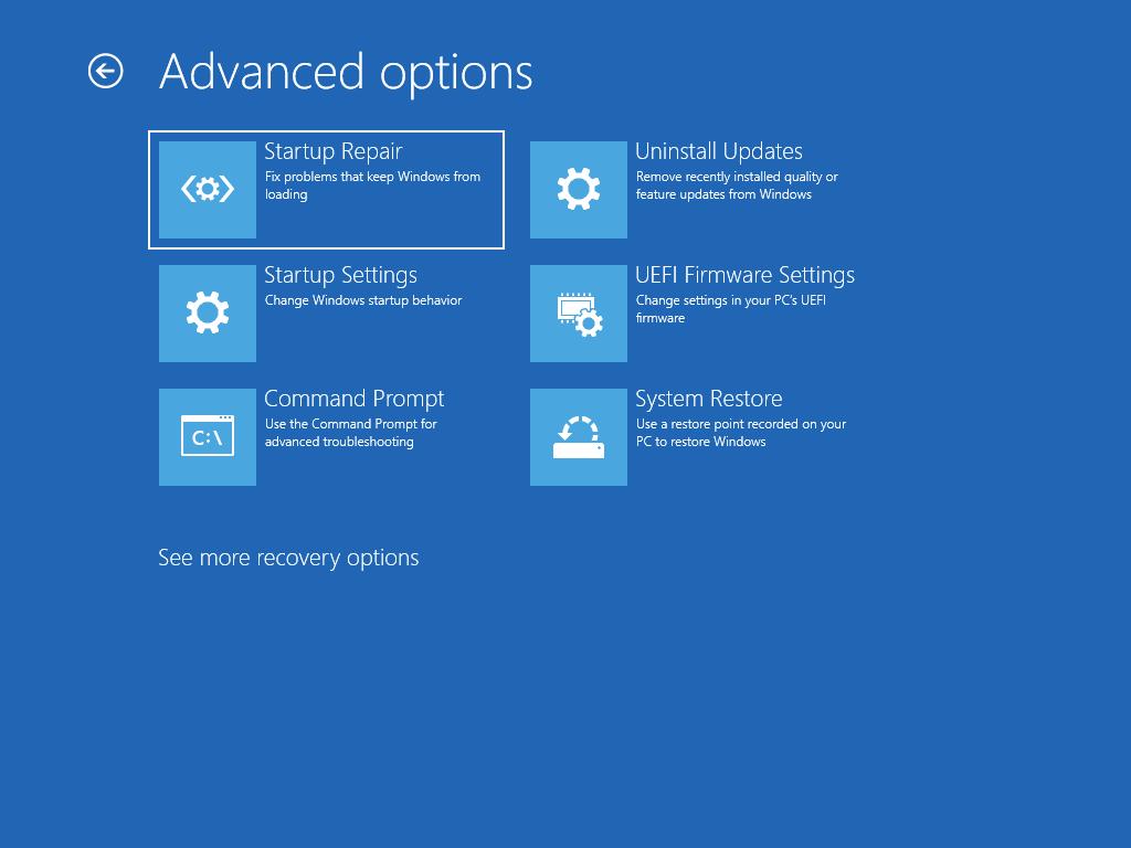 Viser skjermbildet Avanserte alternativer med Oppstartsreparasjon valgt.