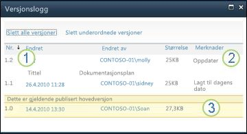 Versjonslogg som viser hovedversjoner og underordnede versjoner samt kommentarer