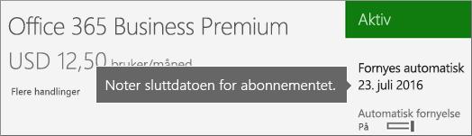 Skjermbilde som viser et aktivt abonnement med automatisk fornyelse aktivert. Datoen for automatisk fornyelse vises.