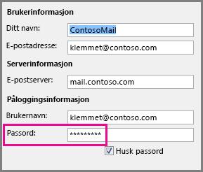 Endre passord for en POP3- eller IMAP-konto