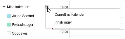 Velg Min kalender, og velg deretter Innstillinger