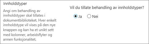 Tillat behandling av innholdstyper-knappen under Avanserte innstillinger