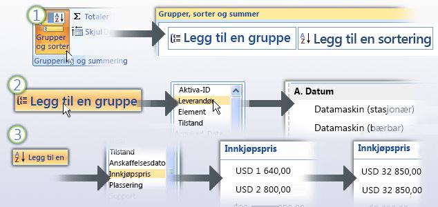 Gruppere og sortere data i en rapport