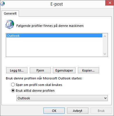 Egenskapsarket for e-post brukes til å legge til eller fjerne en profil for Outlook-kontoen