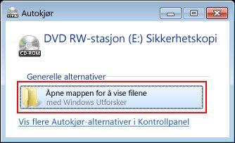 Klikk Åpne mappe for å vise filene.