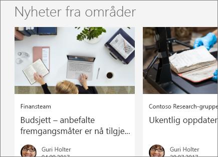 SharePoint Office 365 – Nyheter fra områder