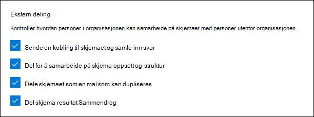 Administrator innstillinger for Microsoft-skjemaer for ekstern deling