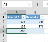 Legge til en rad ved å skrive i den første raden under en tabell