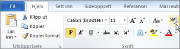 Klikk Fjern formatering på Hjem-fanen.