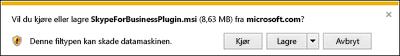 Velg Kjør nederst i nettleservinduet for å installere plugin-modulen