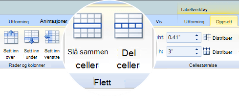 Slå sammen eller dele tabellceller