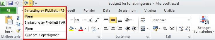I Excel kan du gjøre om flere fjernede handlinger én gang.