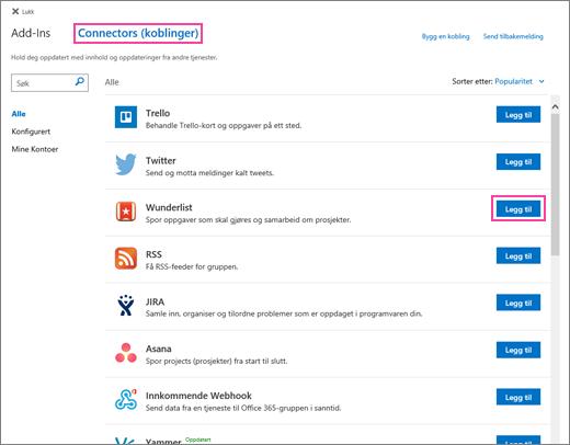 Et skjermbilde av tilgjengelige tilkoblede tjenester i Outlook på nettet