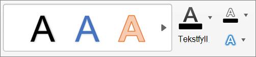 Klikk Tekstfyll, tekstomriss og teksteffekter