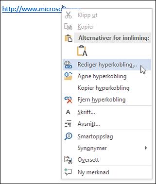 Redigere en hyperkobling