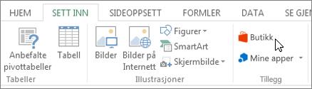 Skjermbilde av en del av kategorien Sett inn på båndet i Excel med en markør som peker til Store. Velg Store for å gå til Office Store og søk etter tillegg for Excel.