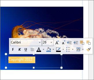 Formater tekstboks-tekst
