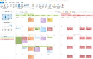 Eksempel på kalendere i side-ved-side-modus og overlappingsmodus