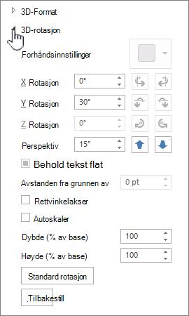 3D-rotasjon egenskaper