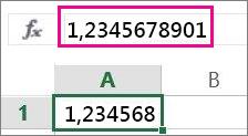 Tallet vises som avrundet i regnearket, men hele tallet vises på formellinjen