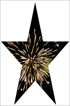 Stjernefigur med et bilde av fyrverkeri