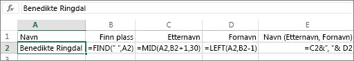 Formler som konverterer et fullt navn til Etternavn, Fornavn