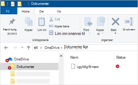 Filutforsker som viser synkroniseringsfeil i OneDrive