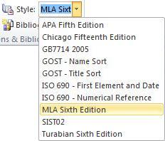 Klikk pilen ved siden av Stil i gruppen Sitater og bibliografi