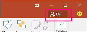 Viser Del-knappen på båndet i PowerPoint 2016