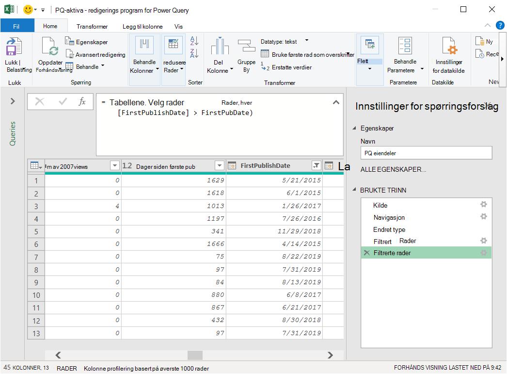 Power Query editor med data lastet inn