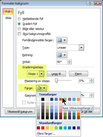 Hvis du vil ha et egendefinert graderingsfargevalg, velger du et graderingsstopp, og velger deretter en farge.