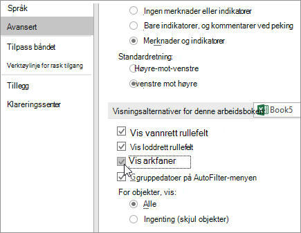 Vis arkfaner i Alternativer for Excel