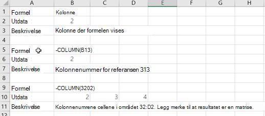 Eksempler på kolonne-funksjonen