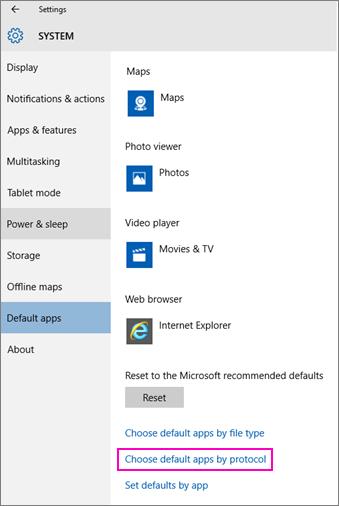 Skjermbilde av innstillingen Velg standardapper etter protokoll i Windows 10.