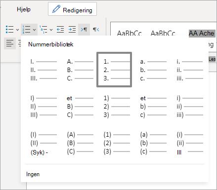 Alternativer i nummererings biblioteket